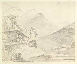 Landscape with mountains and hillman's house, Garhwal (U.P.). April 1789
